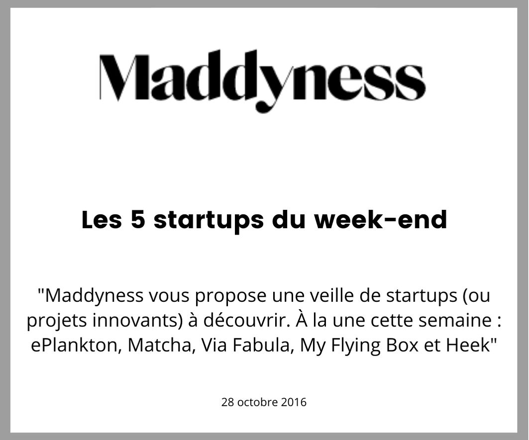 Maddyness parle de My flying box