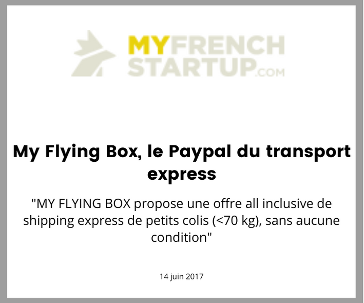 My french start up parle de My Flying box